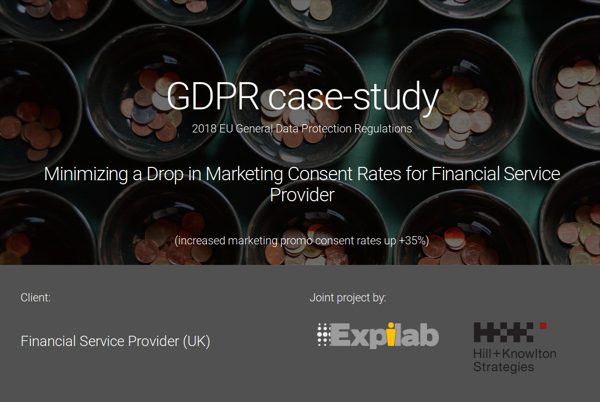 GDPR: Minimizing a drop in marketing consent rates for Financial Service Provider (UK)